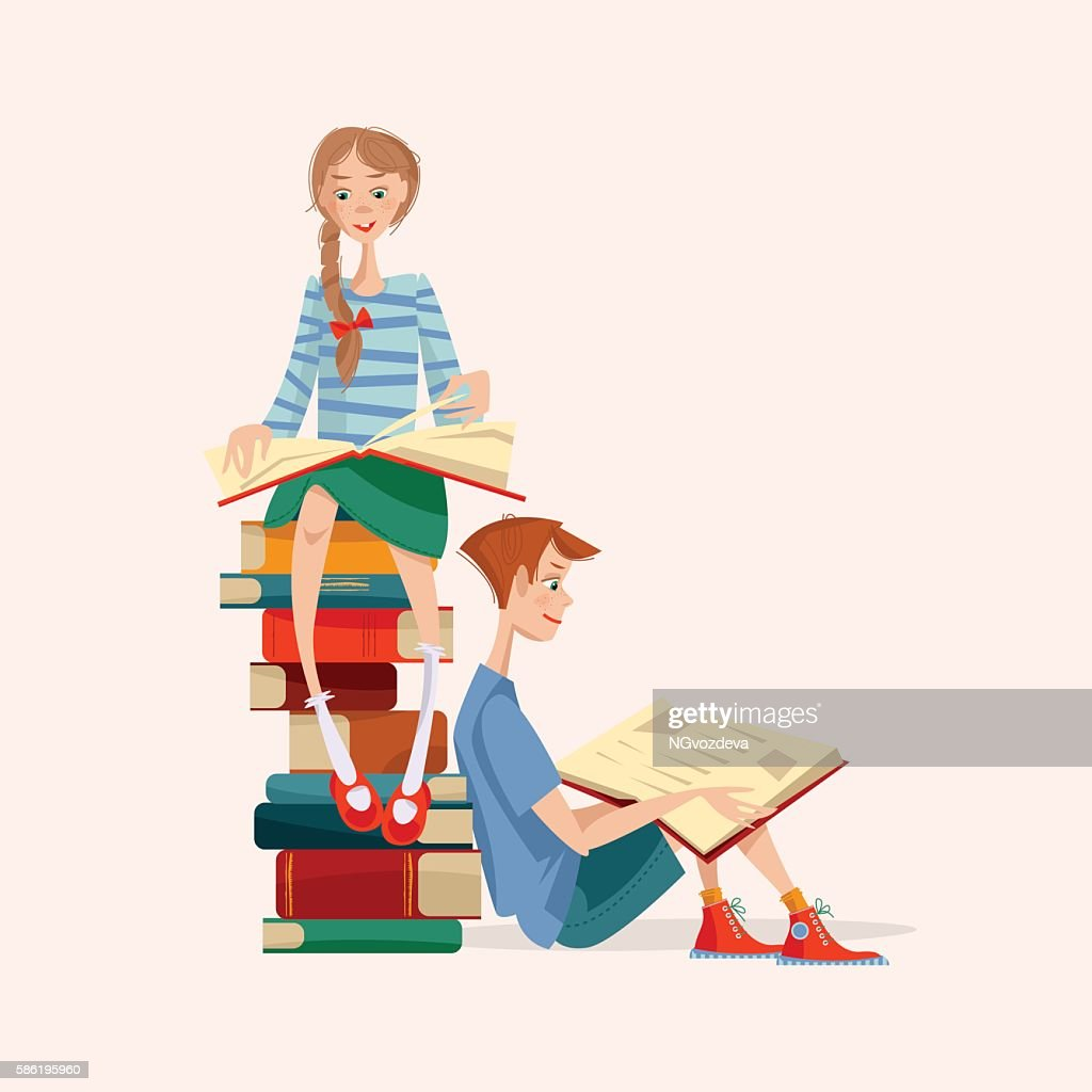 Girl and boy read books. Literacy Day.