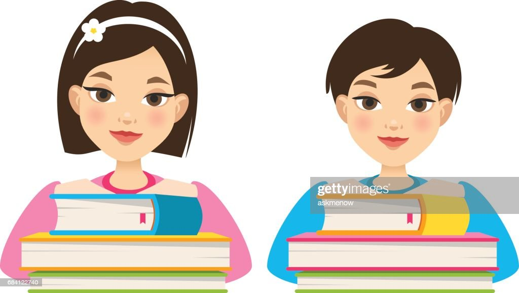Girl and boy with books
