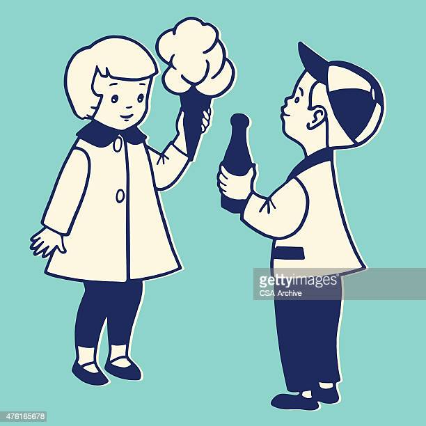 Girl and Boy With Cotton Candy and Soda