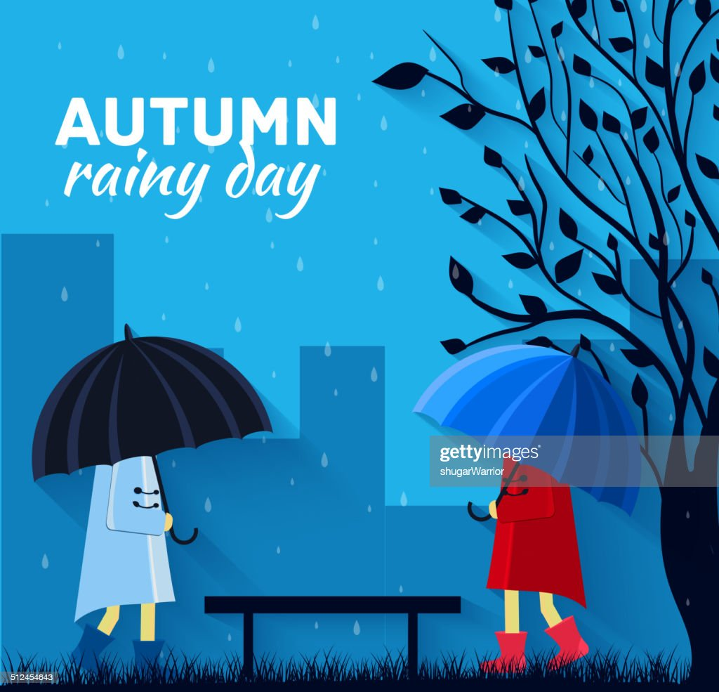 Girl and boy with umbrella in a autumn raining day