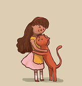 Girl and cat are hugging