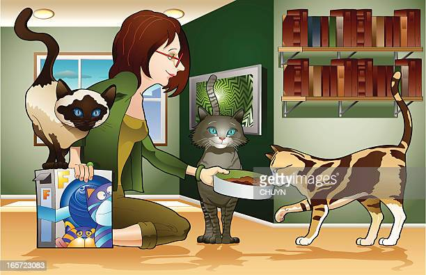 girl and cats - cat food stock illustrations