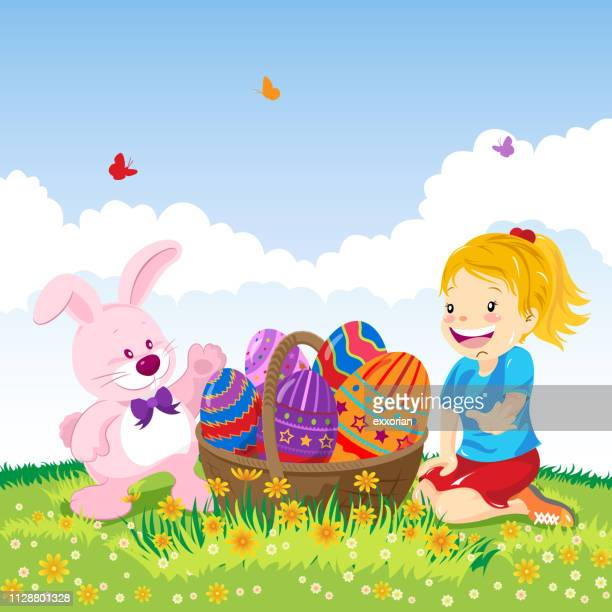 girl and easter rabbit with easter eggs - easter egg hunt stock illustrations, clip art, cartoons, & icons
