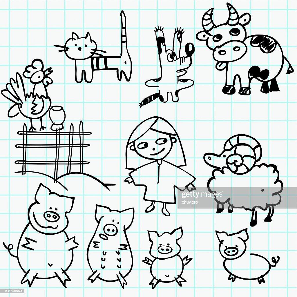 Chica y animales de granja : Ilustración de stock