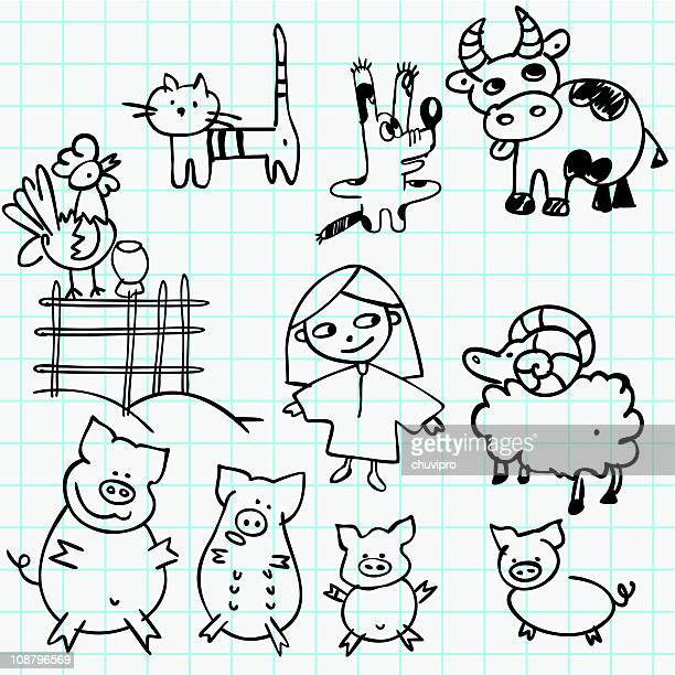 girl and farm animals doodles - one girl only stock illustrations, clip art, cartoons, & icons