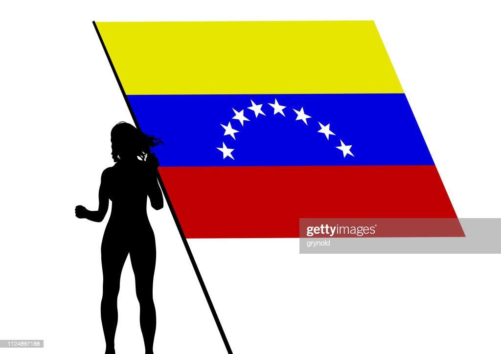 Girl and flag of Venezuela