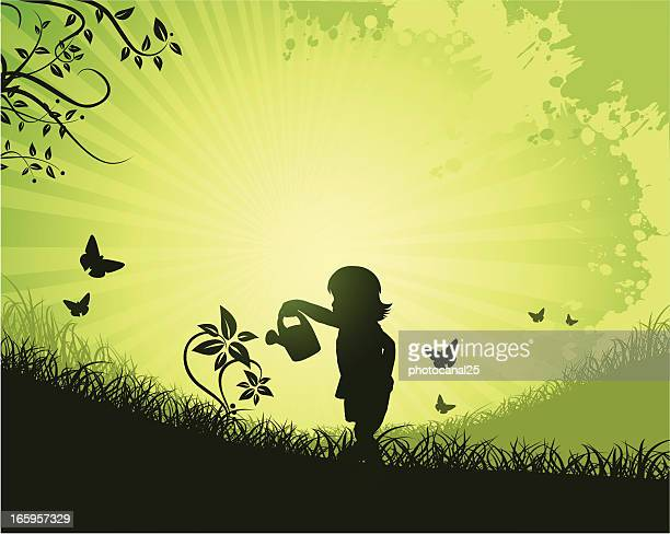 girl and flower on nature - watering can stock illustrations, clip art, cartoons, & icons