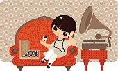 Girl and gramophone.