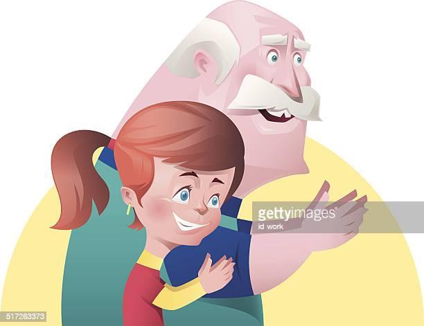 girl and grandpa applauding