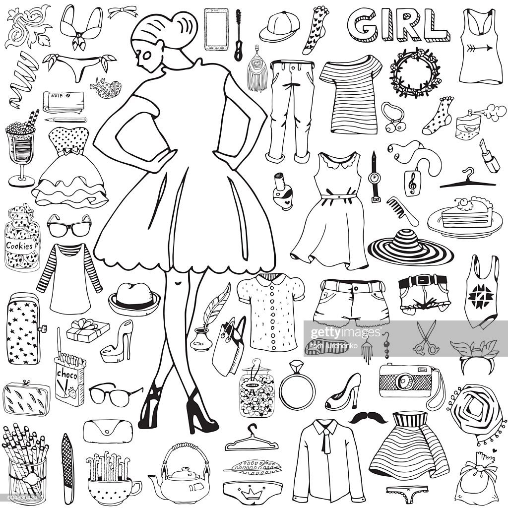 Girl and her clothes with accessories. Hand drawn doodle.