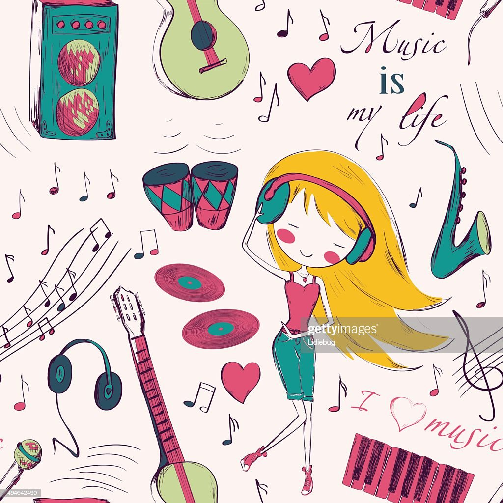 girl and music seamless pattern
