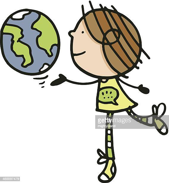 Girl and planet earth