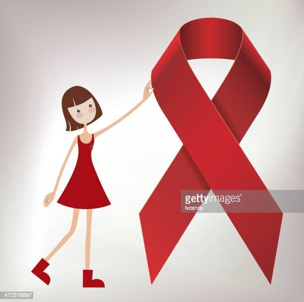 Menina e vermelho fita (SIDA)