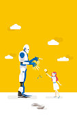 Girl and Robot. Artificial intelligence and his risks