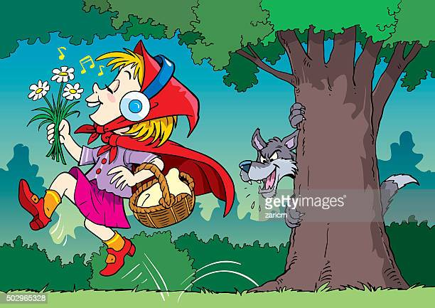 girl and the wolf - little red riding hood stock illustrations, clip art, cartoons, & icons