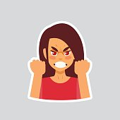 Girl Angry Sticker For Messenger, Label Icon Colorful symbol