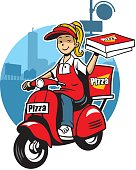 girl as a pizza delivery service ride a scooter