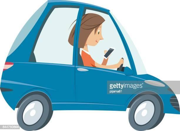 ilustraciones, imágenes clip art, dibujos animados e iconos de stock de chica al teléfono conduciendo el coche - car crash