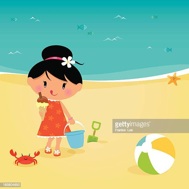 girl at the beach - licking stock illustrations, clip art, cartoons, & icons