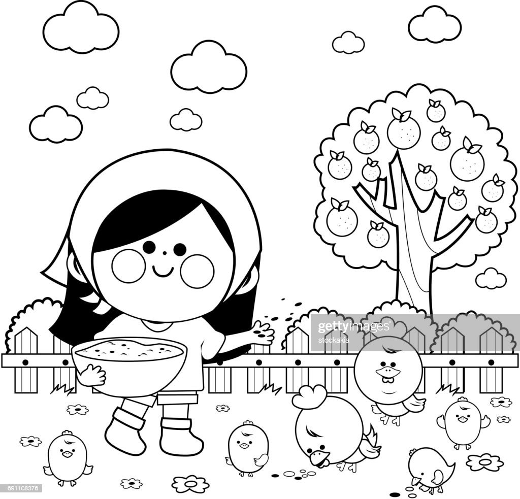 Girl at the farm feeding the chickens. Coloring book page