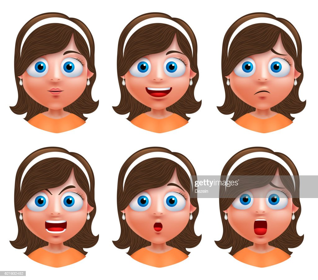 Girl avatar vector character young girl face with facial expressions