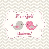 Girl baby shower with two cute birds, illustration