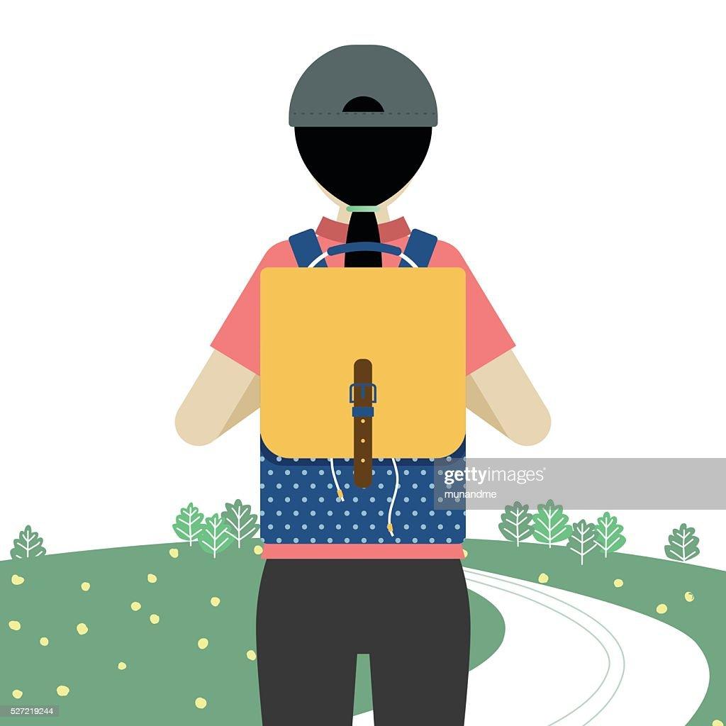 Girl backpacker reader for vacation