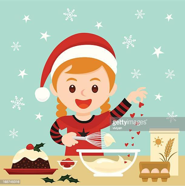 girl baking christmas cake - baked stock illustrations, clip art, cartoons, & icons