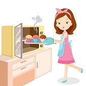 Girl Baking Cupcake