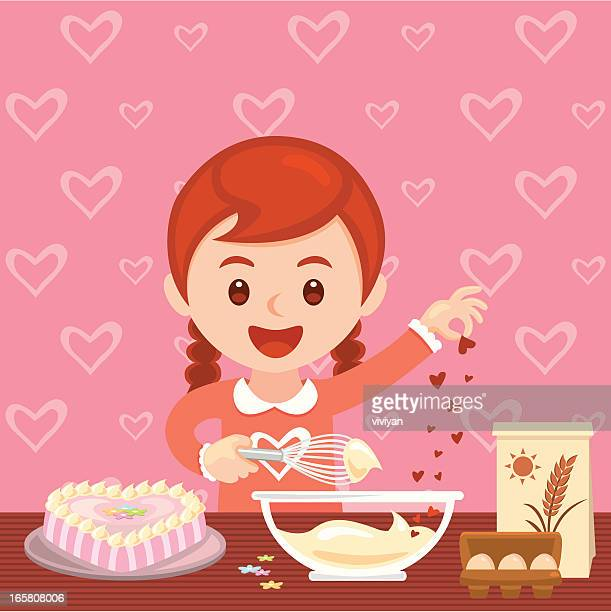 girl baking valentine's day cake - making a cake stock illustrations, clip art, cartoons, & icons