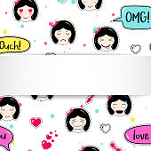 Girl banner with anime emoji pattern. Cute stickers with emotico