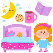 Girl bed time vector collection