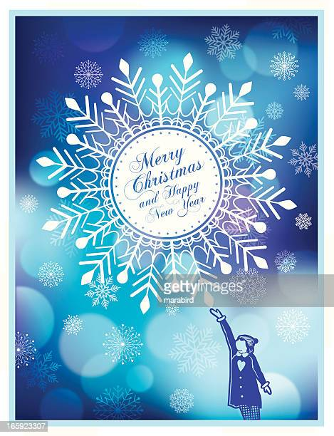 girl & big snowflake - frost stock illustrations, clip art, cartoons, & icons