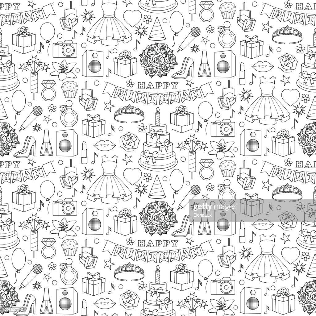 Girl Birhtday Doodle Seamless Pattern
