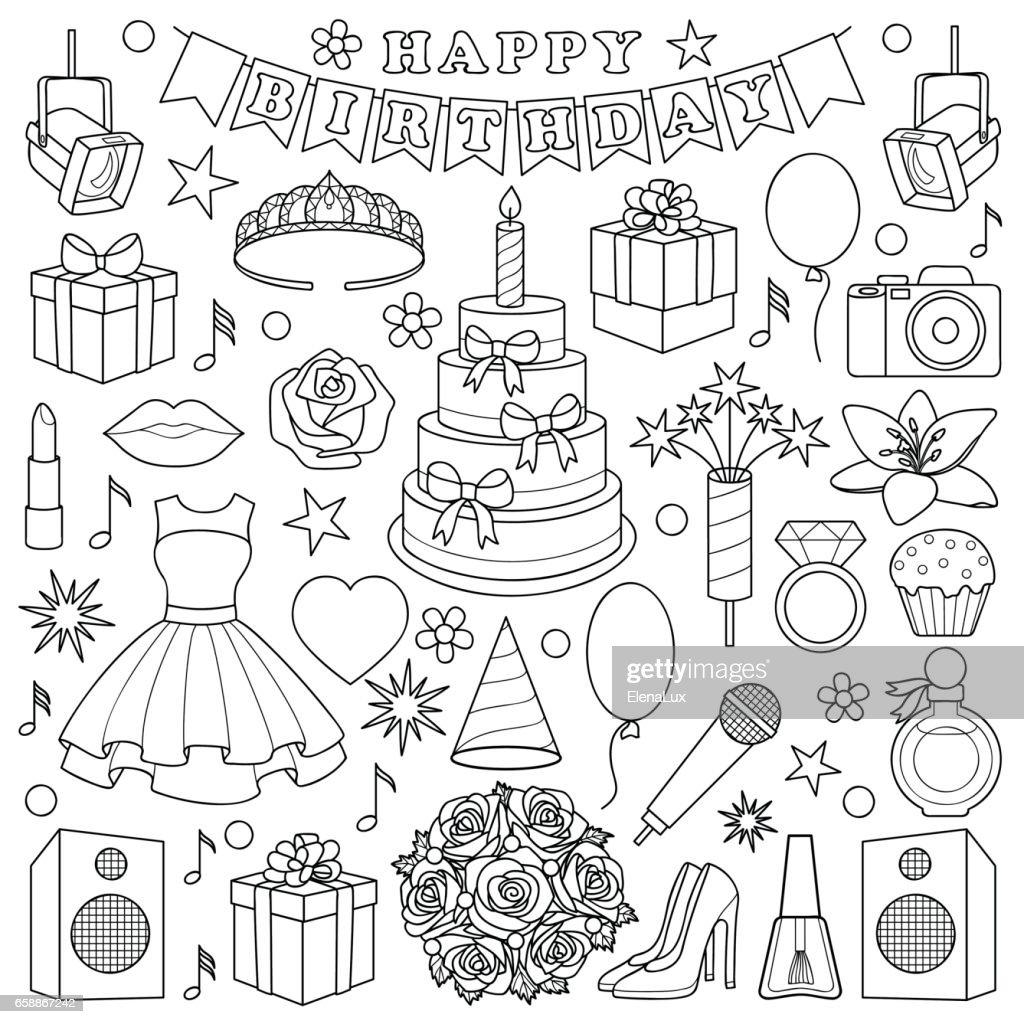 Girl Birhtday Doodle Set