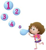 Girl blowing bubbles with numbers
