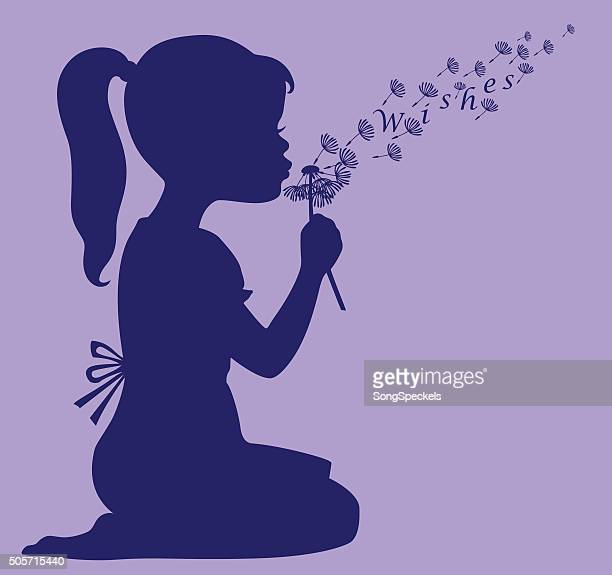 Girl Blowing Dandelion Seeds to Make a Wish