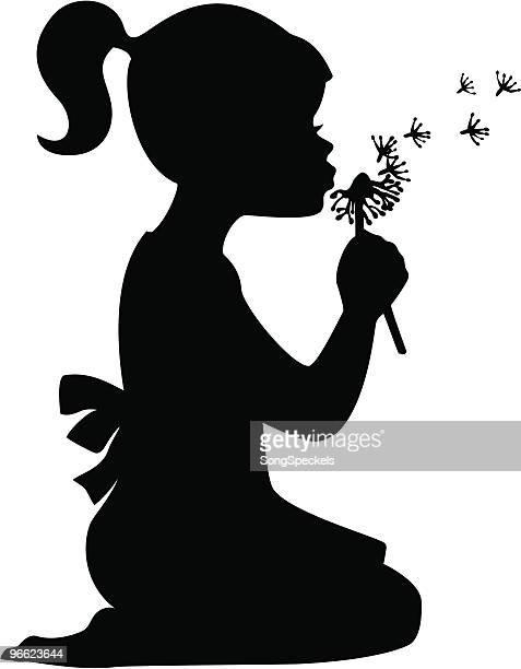illustrations, cliparts, dessins animés et icônes de fille souffle pissenlit - petites filles