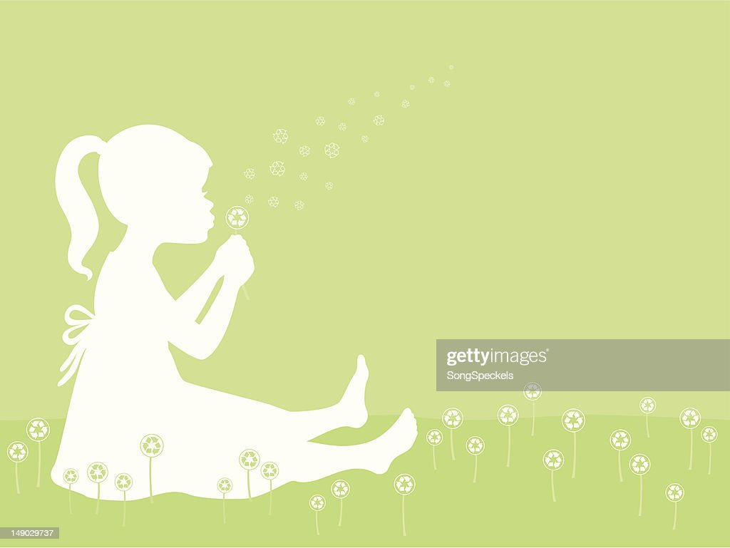Girl Blowing Recycle Symbol Dandelion High Res Vector Graphic