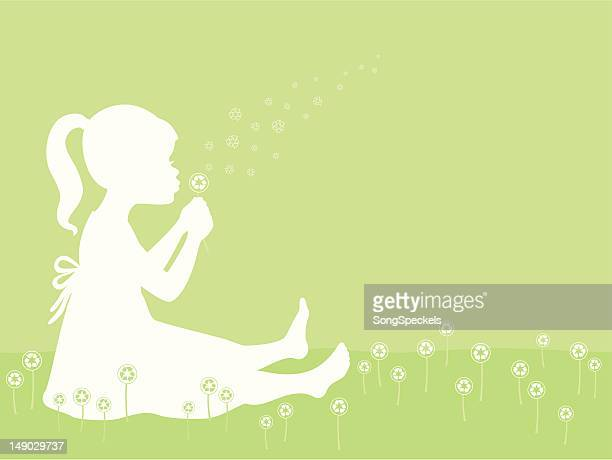 Girl Blowing Recycle Symbol Dandelion