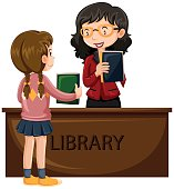 Girl borrowing book from library