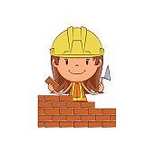 Girl bricklayer