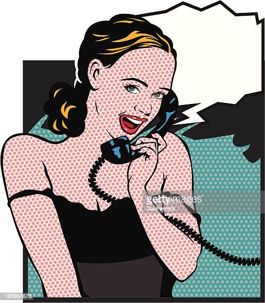 bildbanksillustrationer, clip art samt tecknat material och ikoner med girl calling - pin up