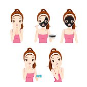 Girl Cares And Protects Her Face With Various Actions Set