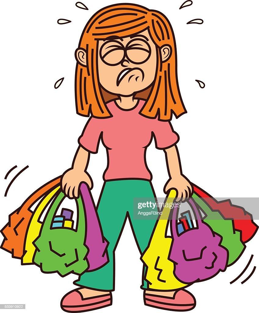 Girl Carrying Heavy Shopping Bags