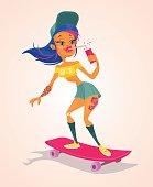 Girl character on longboard. Vector flat cartoon illustration