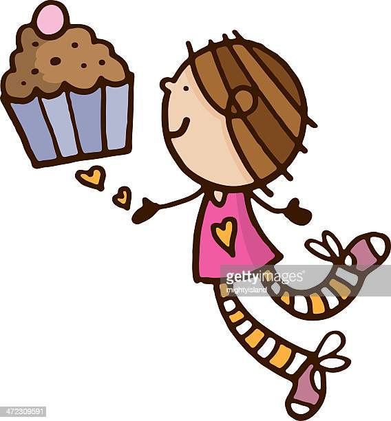 girl chasing a cupcake - making a cake stock illustrations, clip art, cartoons, & icons