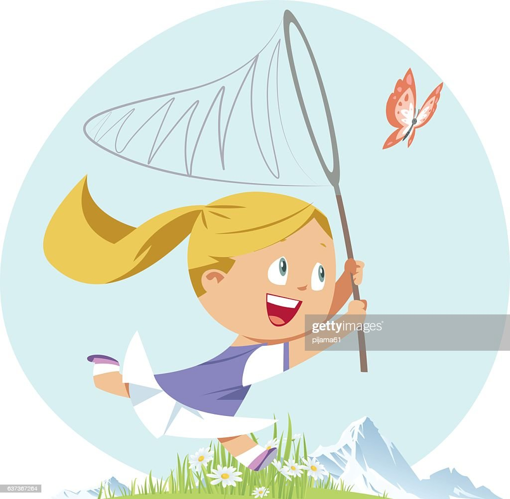 Girl chasing butterfly