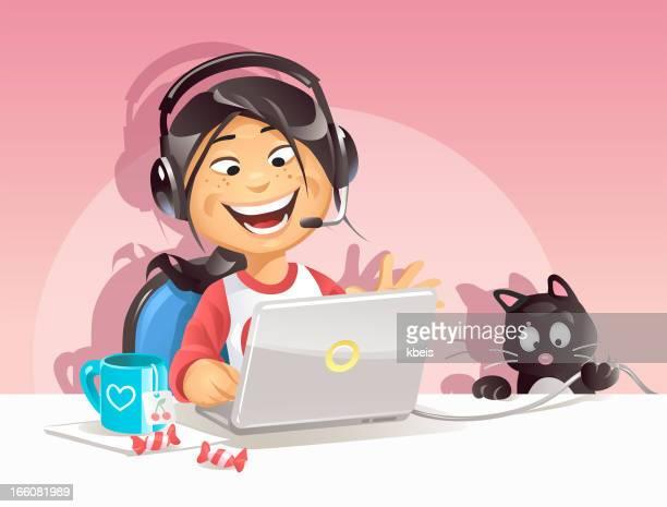 illustrations, cliparts, dessins animés et icônes de fille de discuter sur internet - chat humour