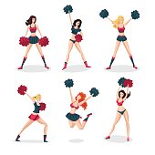 Girl cheerleaders isolated on white set. People cartoon character. Sports icon.